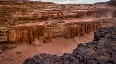 *ARIZONA ~ GRAND FALLS: has water so muddy it looks like something from Willy Wonka's factory.At 185' tall,it's taller than Niagra Falls,but it's best seen in spring,as it's dormant much of the yr.