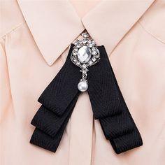 VEKNO Luxury Crystal Women Bow Tie Pearl Brooch Cloth, Amazon - DealsPlus Women Bow Tie, Neck Accessories, Platinum Earrings, Ribbon Jewelry, Pearl Brooch, Diy Necklace, Ribbon Bows, Luxury Jewelry, Beautiful Earrings