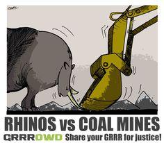 Cartoon by Osvaldo Gutierrez Gomez Share your White Rhinoceros, Wilderness Trail, Protest Art, Rhinos, Coal Mining, Gentle Giant, Nature Reserve, Elephants, Stamps