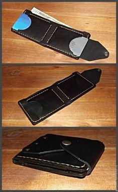 Купить Портмоне из кожи черного цвета - портмоне из кожи, портмоне ручной работы, портмоне кожаное