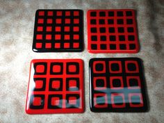 Fused Glass Coasters  Red and Black Set of 4 by DancingGlass, $25.00