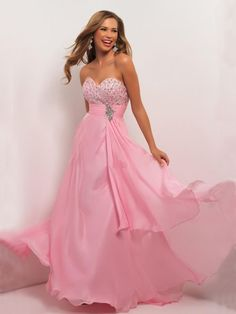 A Line Pink Sleeveless Beaded Floor Length Long Chiffon Prom Dress With Sashes