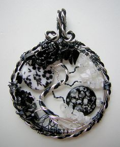 Black and white never looked better than this Yin And Yang (Version Three) Tree of Life Pendant *SOLD* by RachaelsWireGarden