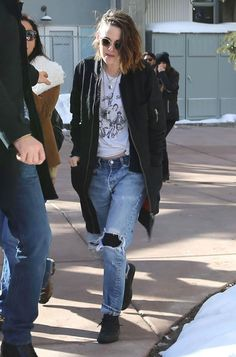 #KristenStewart out during the 2016 #SundanceFilmFestival  in Park City  wearing #converse Sneakers. from @kristenstewartfanpage's closet #converse