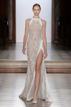 Tony Ward Couture I Spring Summer 2018 I White embroidered dress with halter neckline and silk detailing.