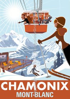 Chamonix Vallee by Charlie Adam : Bungalow Graphics, buy Art Prints & Laminates, Winter Art online - Bungalow - Limited Edition Graphics Ski Vintage, Vintage Ski Posters, Charlie Adam, Chamonix, Screen Print Poster, Snow Skiing, Winter Art, Illustrations Posters, Art Posters