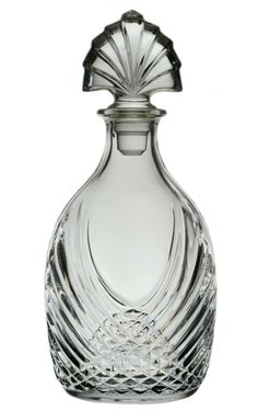 Glass Whiskey Decanter with Molded Decoration, Vintage English Art Deco, 1920s