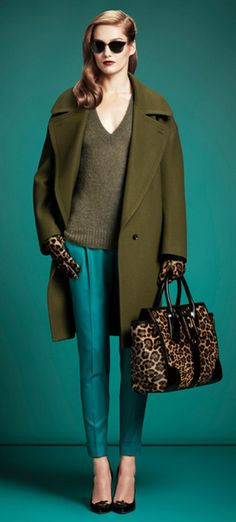 Olive, teal and a leopard print bag. Autumn 2013 perfection from Gucci.