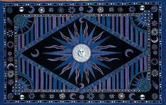 Tapestries of the sun | Celestial Sun Print Tapestry Throw Tablecloth Bedspread Purple & Black