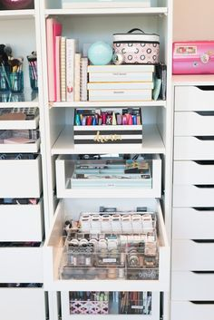 Hello Home. Beauty Room Office Reveal. Angela Lanter, Hello Gorgeous. Home Decor, home accents. Modern decoration. Makeup Organization #organization #homedecor #AngelaLanter #home