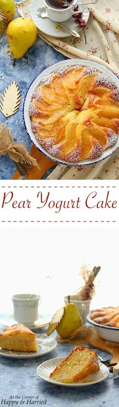 A rustic yogurt cake topped with sweet, soft pears and a dusting of cinnamon sugar is worthy of both your dessert and breakfast tables. Pear Recipes, Sweet Recipes, Baking Recipes, Dessert Recipes, Cupcake Recipes, Summer Recipes, Italian Recipes, Pear Yogurt, Yogurt Cake
