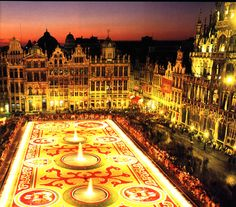 Brussels Grand Palace.  Every 2 years a carpet of flowers is created covering the main square of Brussels