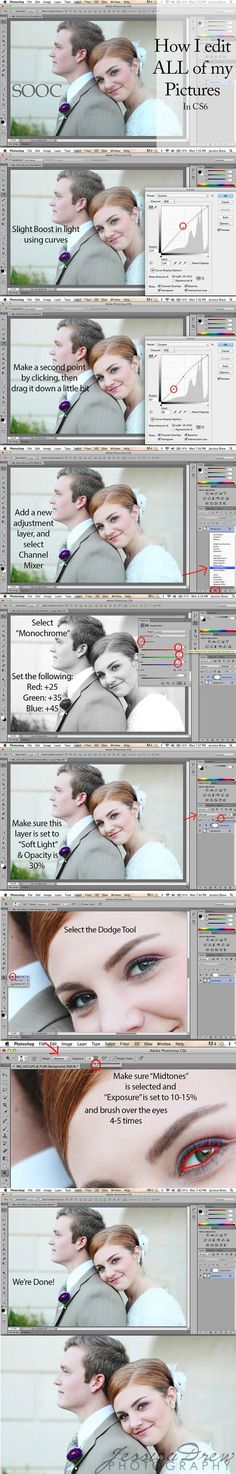 Editing photos to smooth skin, enhance light and brighten eyes.