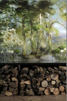 Claire Basler, a chic french artist living in an old iron factory outside of Paris has made her home/ studio a masterpiece. Her artwork is nature – based, whimsical, earthy and gorgeous. Claire Basler, Wall Murals, Wall Art, Pintura Country, French Artists, Wallpaper, Contemporary Artists, Painting Inspiration, Landscape Paintings