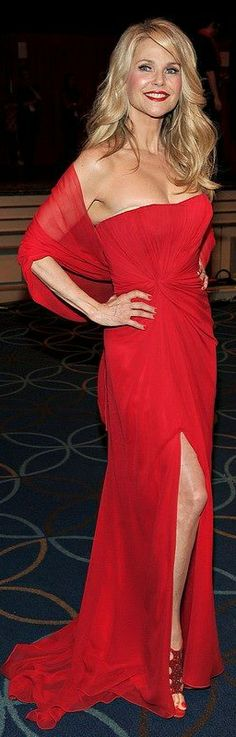 Christie Brinkley in classic red