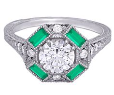Timeless Designs halo #vintage engagement ring #emerald