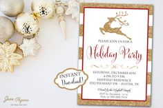 INSTANT DOWNLOAD - Gold Glitter Reindeer Stripe Christmas Invitation - Holiday Party Invitation - Reindeer Christmas - Glitter Invite
