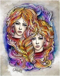 Zodiac illustration GEMINI by balabolka , via Behance