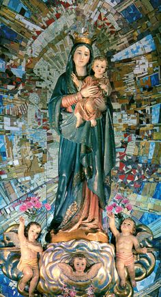 NUESTRA SEÑORA DEL SAGRADO CORAZON, Sant Boi de Llobregat, España. Hnas. Hospitalarias de San Benito Menni. Blessed Mother Mary, Blessed Virgin Mary, Hail Mary, Our Lady, Altar, Madonna, Christianity, Sculpture, Statue