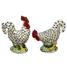 """BLACK & CREAM ROOSTERS SALT & PEPPER SHAKERS -- A little larger than your everyday table salt and pepper shakers. These guys stand 4"""" and 4.5"""" high, respectively, and you won't find them just anywhere!     from My Pet Chicken"""