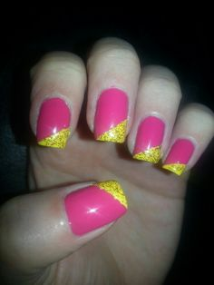 Pink with angled yellow/sparkle