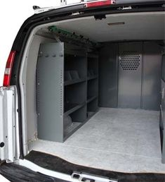 Cargo Van Shelving Storage System  for All Makes & Models Full Size Vans, Minivans, Commercial Trailers  Adjustable shelves, contoured to fit your van, plastic back cover to keep your stuff secure.  http://www.True-Racks.us