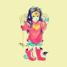 So freaking cute! Baby Wonder Woman, Wonder Woman Art, Wonder Woman Comic, Superman Wonder Woman, Dc Comics, Comic Art, Comic Books, Wander Woman, Princesa Diana
