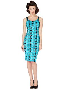 "Women's ""Argyle"" Pencil Dress by Voodoo Vixen (Blue) #InkedShop #pencildress #dress #style #fashion"