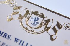 Monogram in gold foil details in the Fontainebleu Collection by J Grace