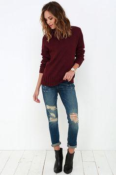 Always in Harmony Burgundy Turtleneck Sweater at Lulus.com!