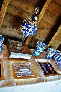 Rustic, blue and white class reunion party! See more party planning ideas at CatchMyParty.com!