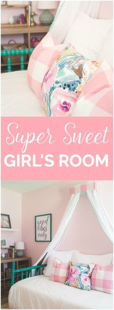 This little girls room is just precious! I love the daybed, canopy, and pillows…