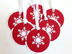 Snowflake Gift Tags - Christmas Gift Tag Set - Holiday Gift Tags - Winter To From Tags - Red and White Present Tags - Unique Hanging Tags