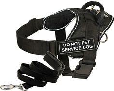 Dean and Tyler Bundle - One 'DT Fun Works' Harness, Do Not Pet Service Dog, Reflective, Medium   One 'Padded Puppy' Leash, 6 FT Stainless Snap - Black -- Visit the image link more details. (This is an affiliate link and I receive a commission for the sales)
