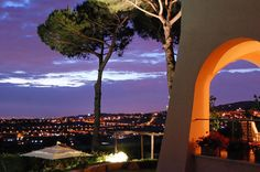 Villa delle Lance at night. A true gem of a rental located just outside Rome on the hills of Castelli Romani
