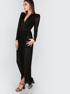 f9bbd84cb0 Deep V Neck Shoulder Pads Sheer Wrap Dress BLACK