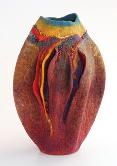 Sharon Costello / sculptural felt vessel. Follow Fiber Art Now on FB for more fiber art finds - www.facebook.com/FiberArtNow