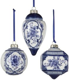 "Kurt Adler 3-4.5"" Porcelain Delft Blue Ornament Set of 3"