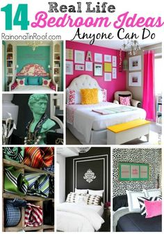 These really are REAL LIFE ideas!! AND they are super affordable, functional and pretty! 14 Real Life Bedroom Ideas Anyone Can Do via RainonaTinRoof.com