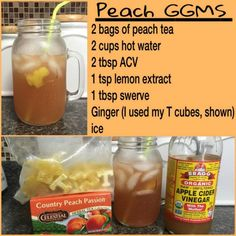 THM Peach GGMS | Steep tea bags in hot water (I run plain water thru the coffee pot) for 20 minutes. Once cooled pour over ice (after removing the tea bags) and add remaining ingredients (use sweetener of your choice)  Stir Well!! #detoxsmoothie