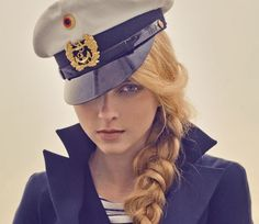I want this hat and this hair for the nautical party! Style Marin, My Style, Nautical Fashion, Nautical Style, Boat Fashion, High Fashion, Kodak Moment, Nautical Party, Sailor Fashion