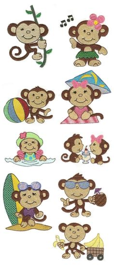 Monkey Business embroidery design set available for instant download at designsbyjuju.com