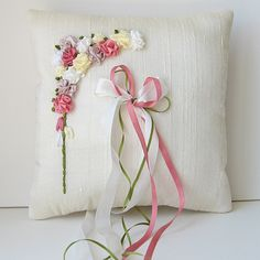 Floral Ring Pillow silk ribbon embroidery. $50.00, via Etsy.