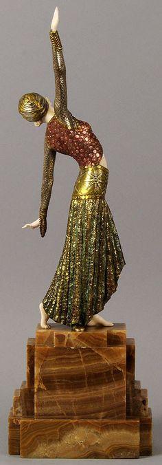 Demetre Chiparus - Art Déco - Sculpture 'Danseuse de Footsteps' - 1925