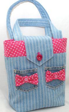 Denim tote/handbag by GorgeousAgaindotcom on Etsy, £22.00