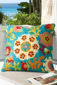 Blossom Crewel Pillow from Soft Surroundings