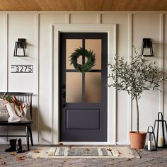 Front Door Decor Discover House Numbers Mounting Plate Black 5 Spaces - Hearth & Hand with Magnolia House Number Plates, Porte Cochere, Farmhouse Front, Farmhouse House Numbers, Farmhouse Style, Modern Farmhouse Porch, Exterior House Colors, Black Trim Exterior House, Black Exterior Doors