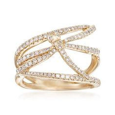 Ross-Simons - .60 ct. t.w. Diamond Dragonfly Multi-Row Ring in 14kt Yellow Gold - #870700