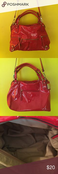Red fashion purse Beautiful shiny cherry red purse with lots of storage.  Only used a few times Bags Shoulder Bags