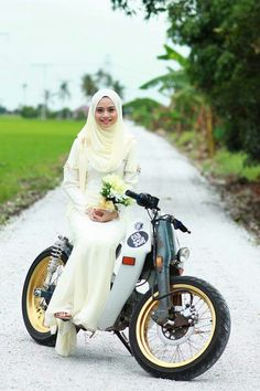 Image may contain: 1 person, smiling, motorcycle and outdoor Motorcycle Icon, Moto Bike, Honda Cub, Honda Scooters, Honda Motorcycles, Lady Biker, Biker Girl, Custom Moped, Scooter Girl